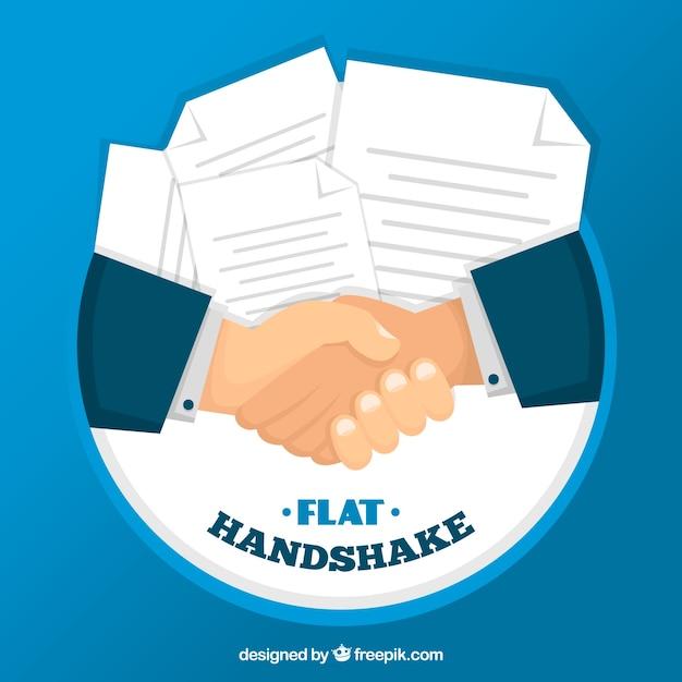 Fondo de apretón de manos de negocios con contracto en estilo plano vector gratuito