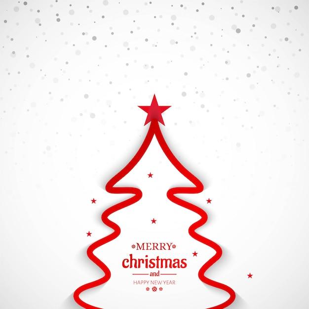 Fondo de árbol de línea mínima de feliz navidad vector gratuito