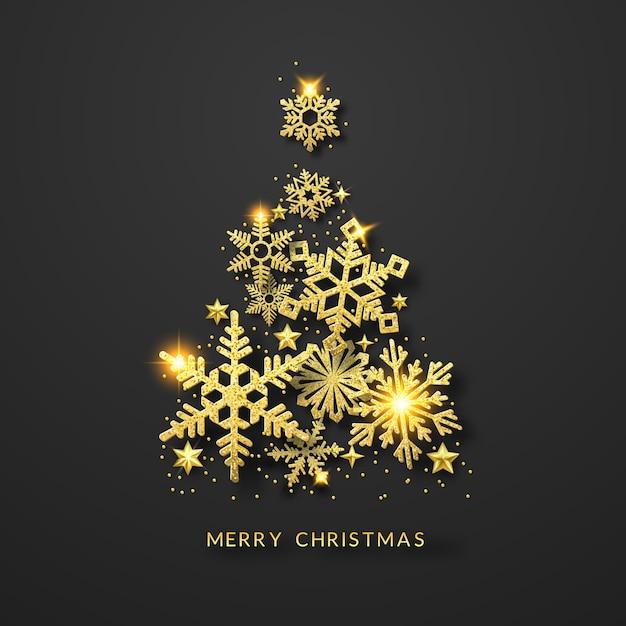Fondo de árbol de navidad con brillantes copos de nieve de oro, estrellas y bolas Vector Premium