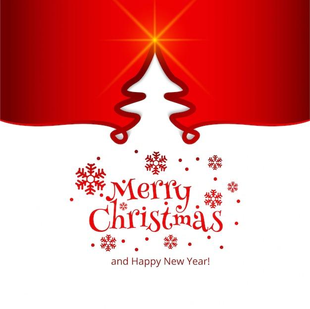 Fondo de árbol de tarjeta de celebración de feliz navidad vector gratuito