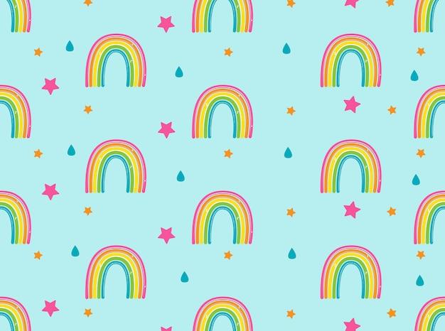 Fondo con arco iris, estrellas y gotas de lluvia Vector Premium