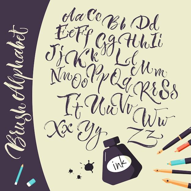 Fondo artístico con bolígrafos de tinta y alfabeto vector gratuito
