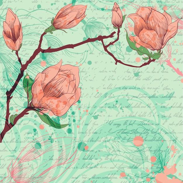 Fondo artístico con flores dibujadas a mano vector gratuito