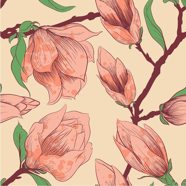 Fondo artístico con flores rojas vector gratuito