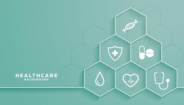 Fondo de atención médica con símbolos médicos en marco hexagonal vector gratuito