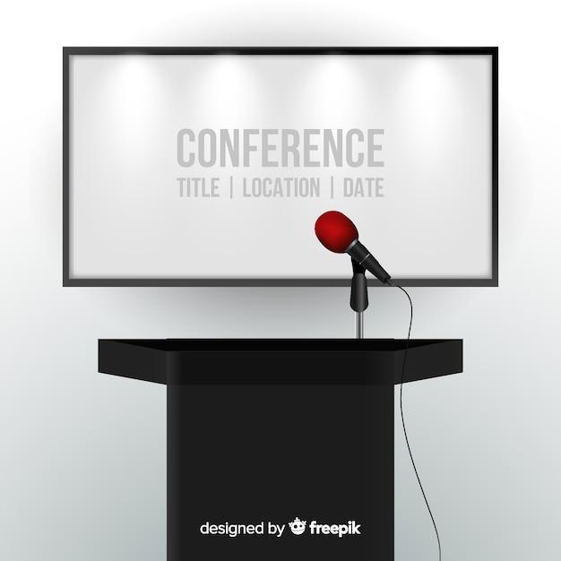Fondo atril para conferencia realista vector gratuito