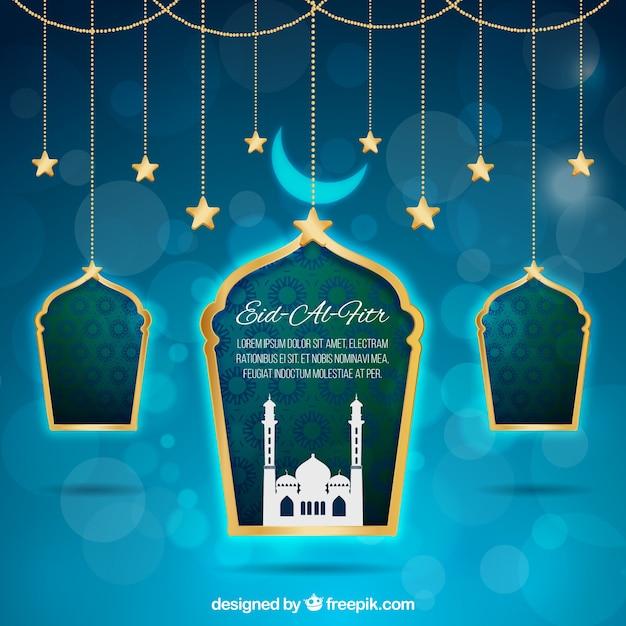 Fondo azul bokeh de eid al fitr con ventanas  Vector Gratis