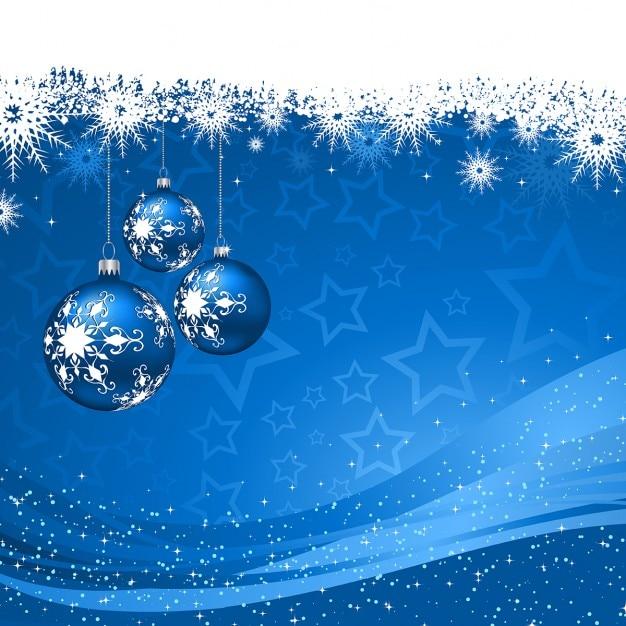 Fondo Azul Con Bolas De Navidad Y Copos De Nieve