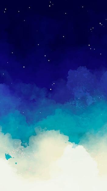 Fondo azul cielo estrellado acuarela vector gratuito