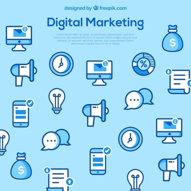 Fondo azul claro con elementos de marketing Vector Gratis