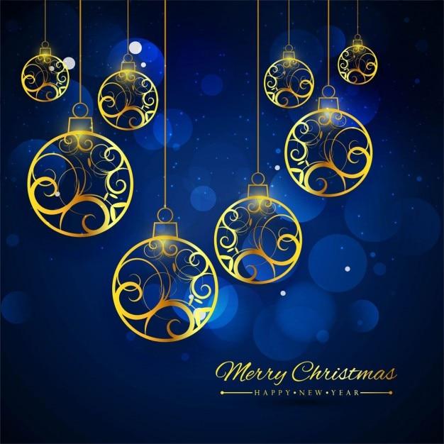 Fondo azul con bolas de navidad doradas descargar - Bolas de navidad doradas ...