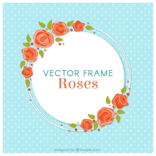 Fondo azul con marco floral redondo | Descargar Vectores gratis