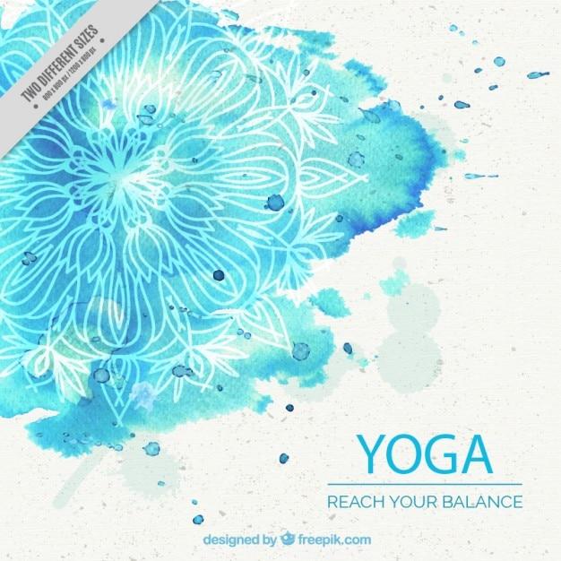 Fondo azul de la acuarela de la yoga con la mandala Vector Gratis