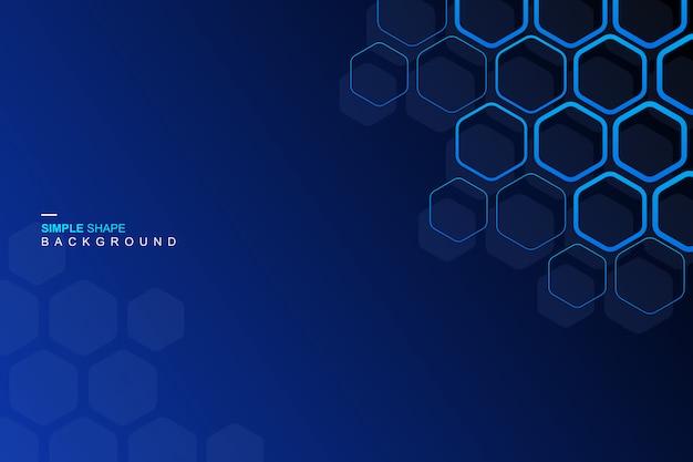 Fondo azul del hexágono Vector Premium