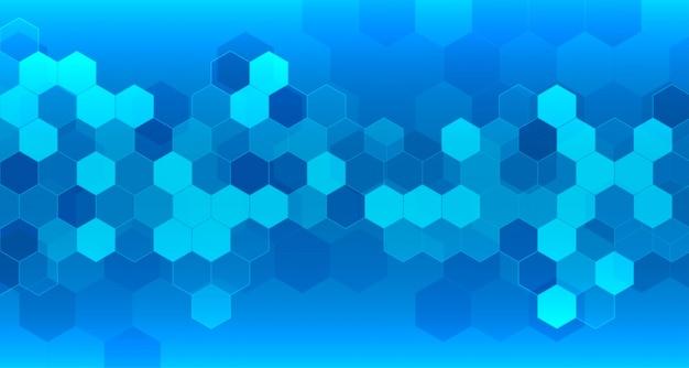 Fondo azul médico y sanitario con formas hexagonales. vector gratuito