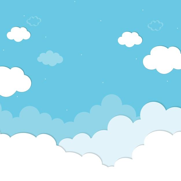 Fondo azul nublado vector gratuito
