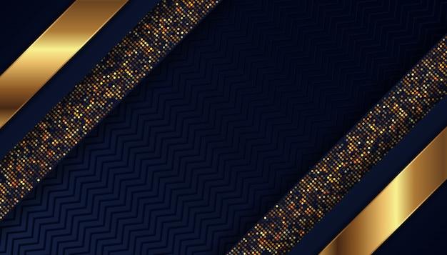 Fondo azul oscuro de lujo con puntos dorados brillantes Vector Premium