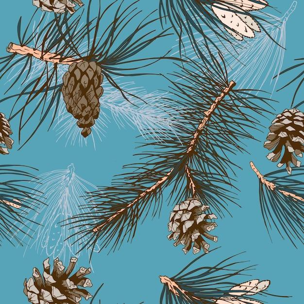 Fondo azul con piñas de pino   Descargar Vectores gratis
