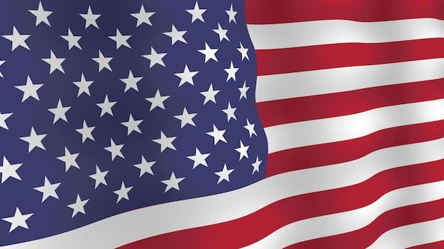 Fondo de bandera de estados unidos. bandera ondeante realista con sombras. Vector Premium