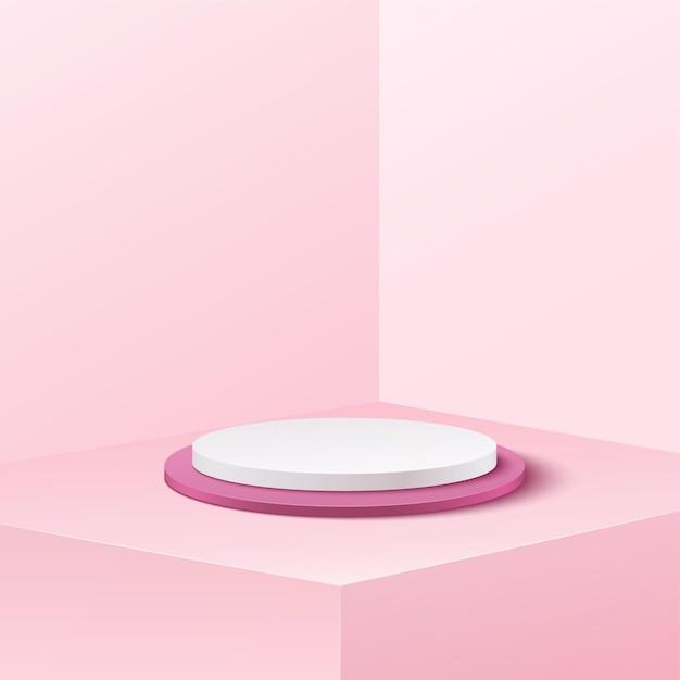 Fondo de banner abstracto para anunciar producto. estudio de podio de cilindro vacío blanco y fondo rosa suave. Vector Premium