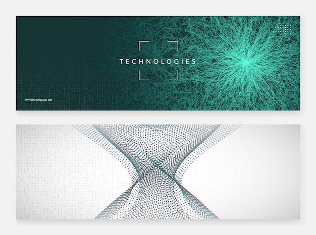 Fondo de banner abstracto de tecnología digital Vector Premium
