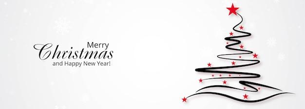 Fondo de banner de árbol de navidad creativo dibujado a mano vector gratuito