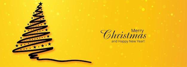 Fondo de banner de árbol de vacaciones de navidad vector gratuito