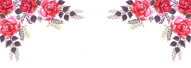 Fondo de banner decorativo de flores abstractas vector gratuito