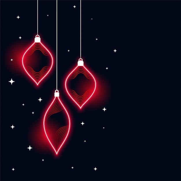 Fondo de banner de feliz navidad de estilo neón vector gratuito