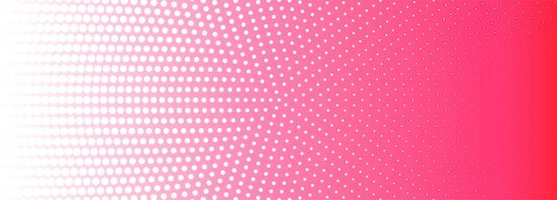 Fondo de banner de patrón de semitono circular rosa y blanco abstracto vector gratuito