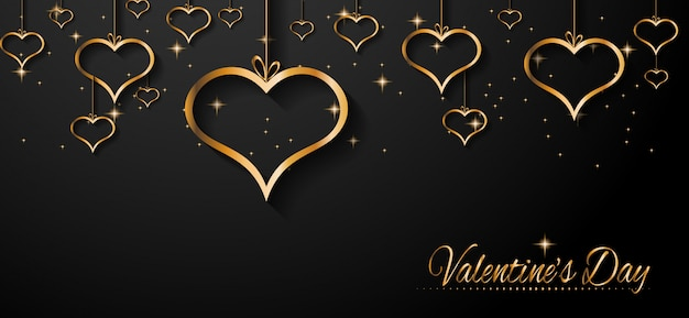Fondo de banner de san valentín Vector Premium