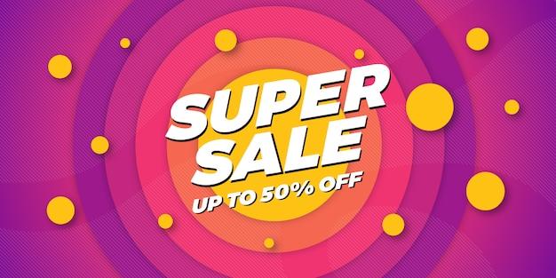 Fondo de banner de super venta Vector Premium