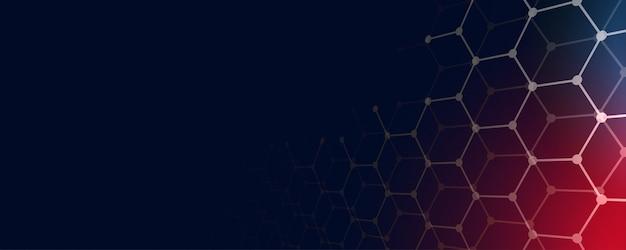 Fondo de banner de tecnología con formas hexagonales y espacio de texto vector gratuito