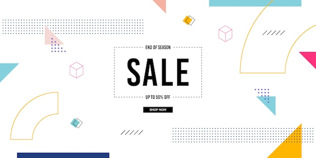Fondo de banner de venta de memphis Vector Premium