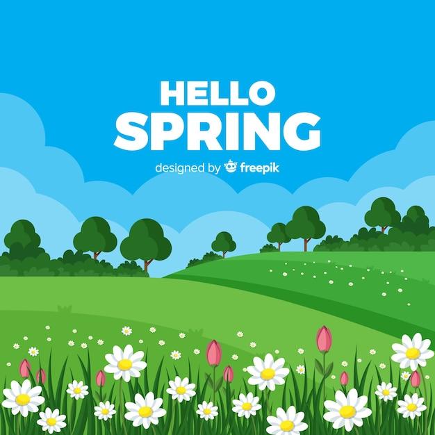 Fondo de bienvenida a la primavera Vector Premium