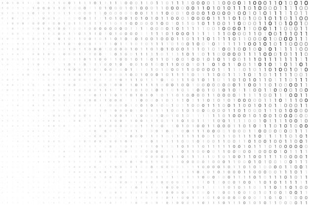 Fondo blanco digital con números de código binario vector gratuito