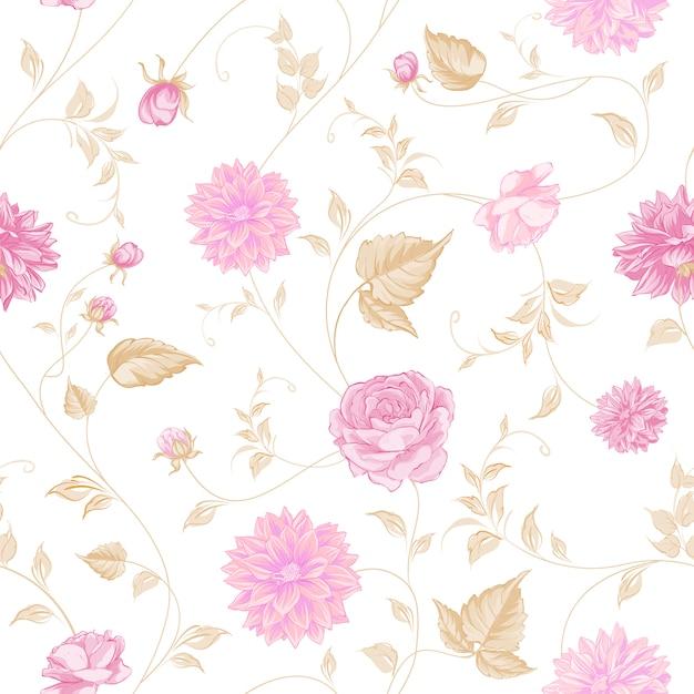 Fondo Blanco Con Flores Rosas