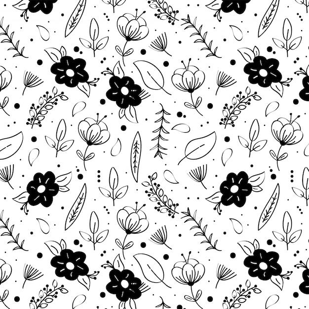 Fondo Blanco Y Negro Con Flores De Primavera Vector Premium