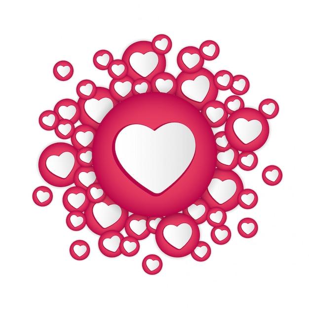 Fondo blanco con signos de corazones Vector Premium