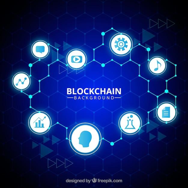 Fondo de blockchain vector gratuito
