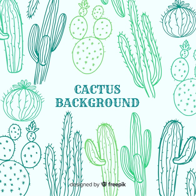Fondo bocetos cactus vector gratuito