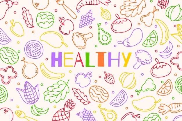 Fondo de bocetos de frutas y verduras vector gratuito