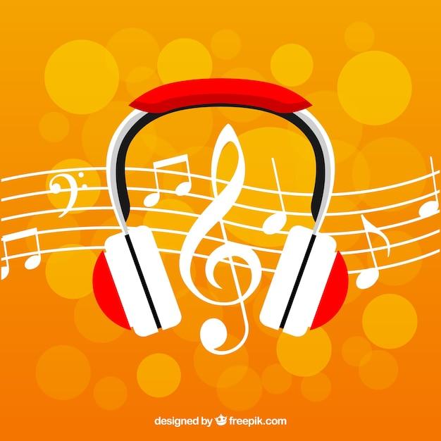 Fondo Bokeh Con Auriculares Y Notas Musicales Descargar Vectores
