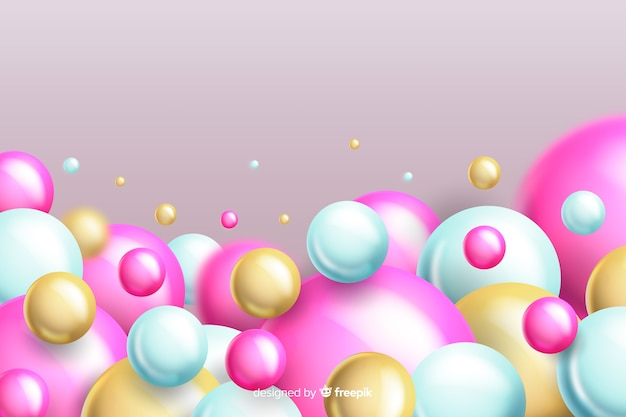 Fondo de bolas rosa que fluye realista con copyspace vector gratuito