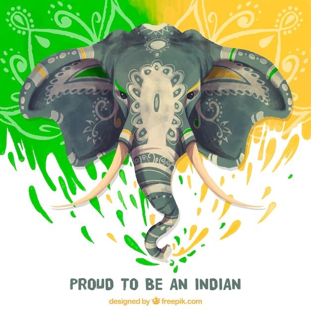 Fondo bonito con elefante de acuarela para el día de la república ...