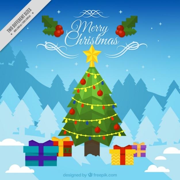 Fondo bonito con un rbol de navidad y regalos descargar - Arbol de navidad con regalos ...