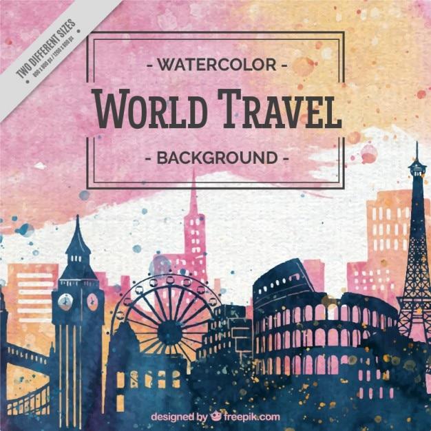 Fondo bonito de acuarela de viaje alrededor del mundo Vector Gratis