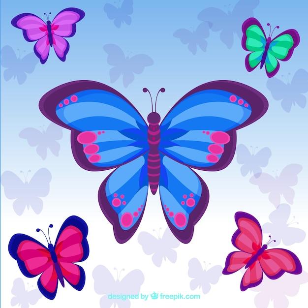 Fondo bonito de mariposas de colores descargar vectores - Imagenes de mariposas de colores ...