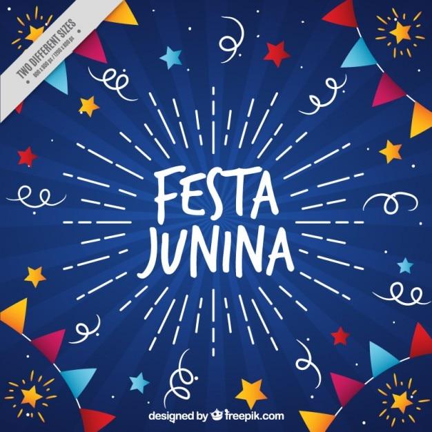 Fondo bonito de fiesta junina dibujado a mano vector gratuito