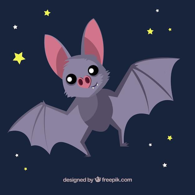 Fondo de bonito murciélago con estrellas vector gratuito